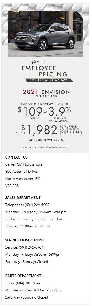 2021 Buick Envision Avenir Carter GM Northshore BC