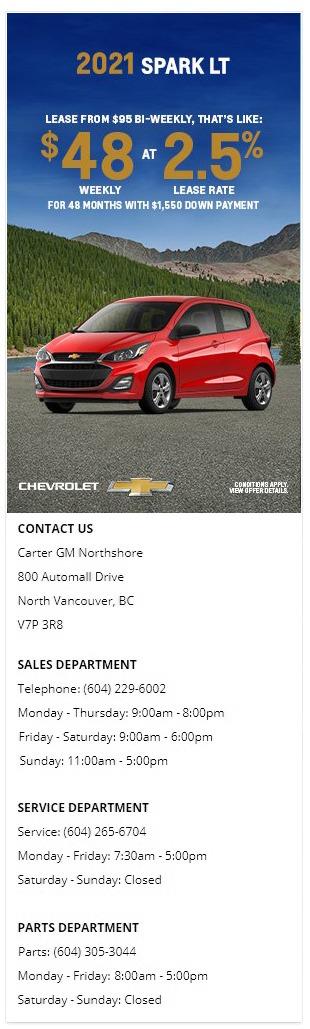 2021 Chevrolet Spark Carter GM Northshore BC