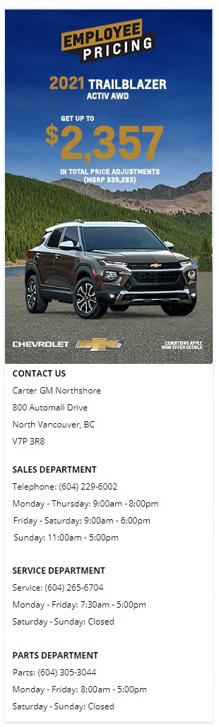2021 Chevrolet Trailblazer Carter GM Northshore BC