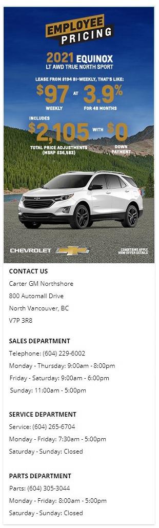 2021 Chevrolet Trailblazer Equinox Traverse Blazer Carter GM Northshore
