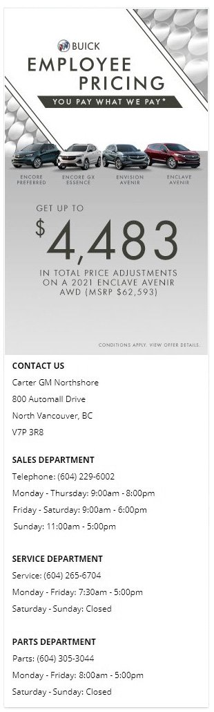 2020 and 2021 Buick Encore GX Envision Essence and Enclave SUV at Carter GM Burnaby and Carter GM Northshore BC