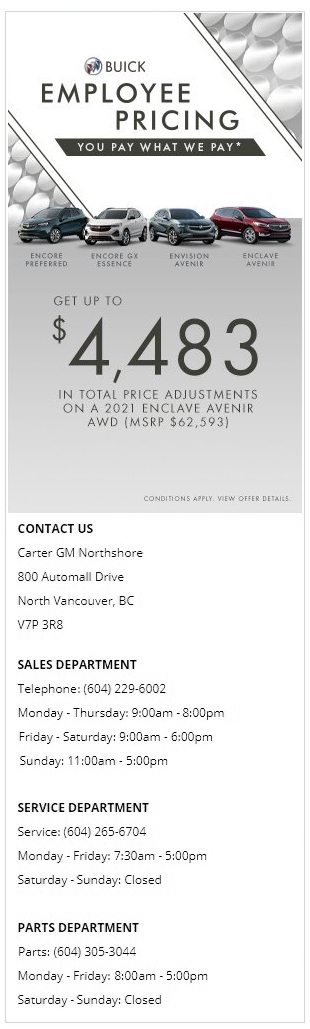 2021-Buick-Envision-Encore-GX-Enclave-Carter-GM-Northshore-BC-Employee-Pricing